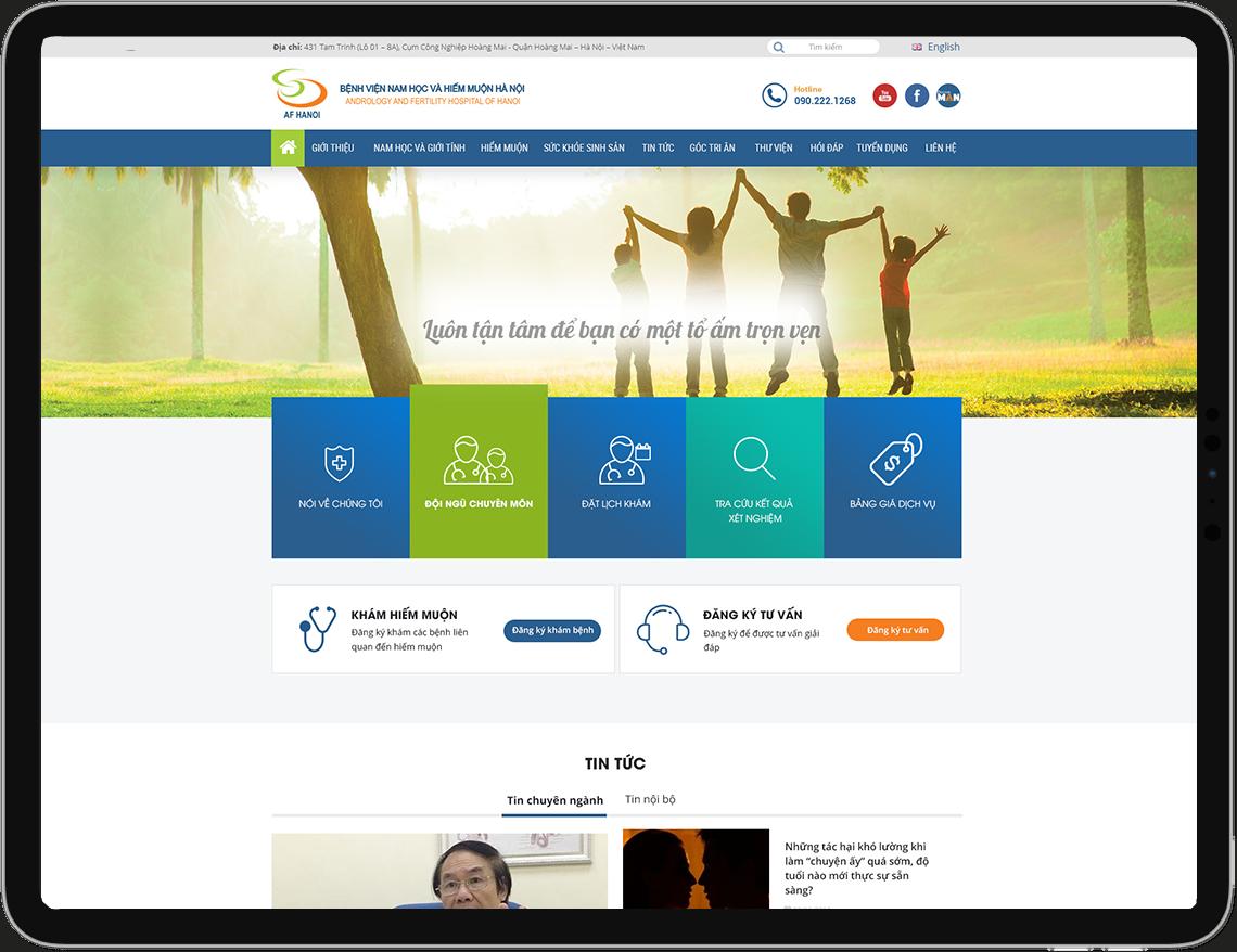 Giao diện website Bệnh Viện Nam Học và Hiếm Muộn Hà Nội