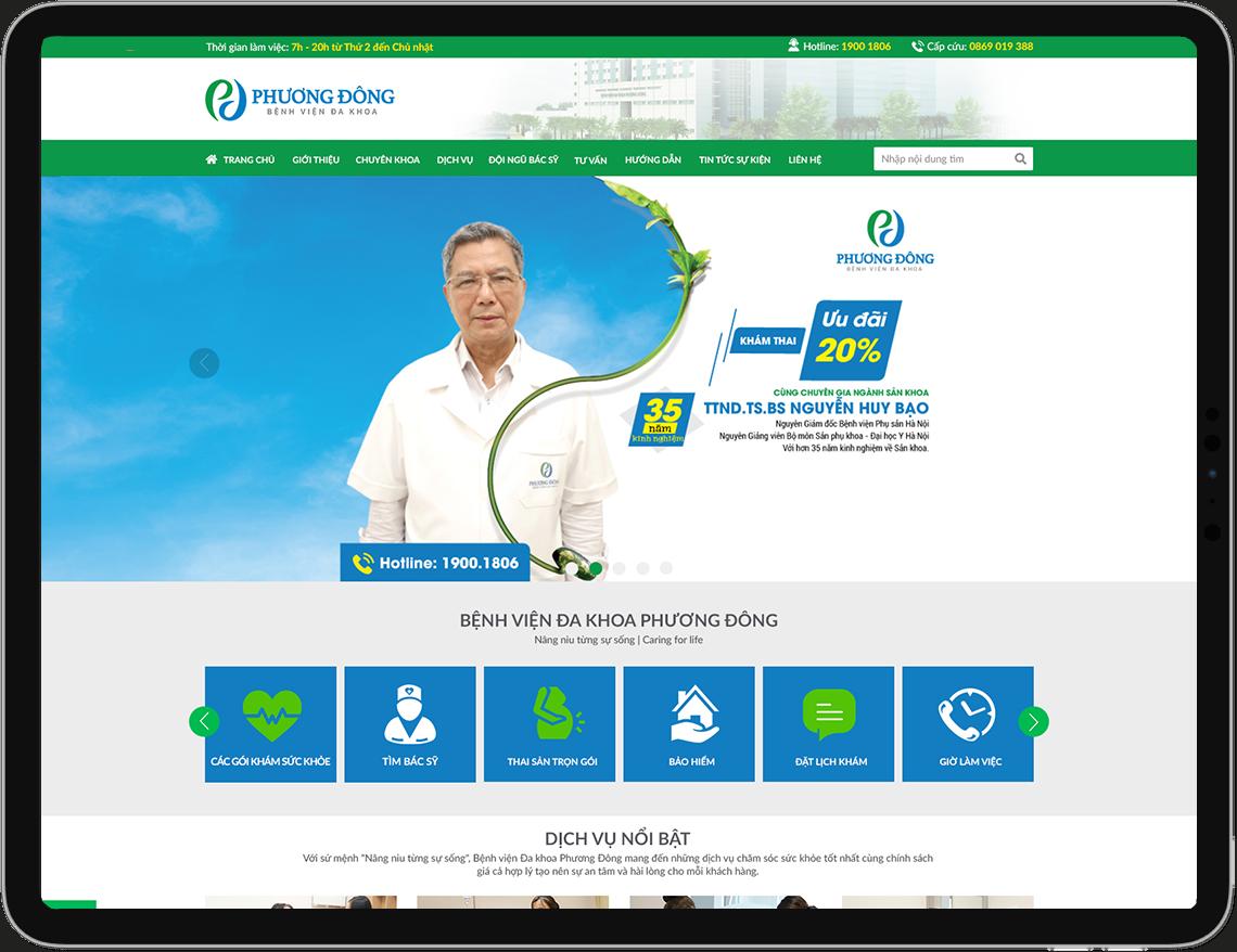 Giao diện Cổng thông tin điện tử Bệnh Viện Đa Khoa Phương Đông