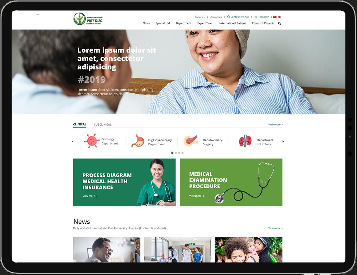 Giao diện website Bệnh Viện Hữu Nghị Việt Đức